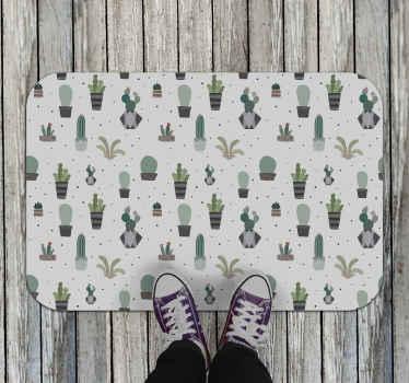 Decora tu casa con esta alfombra vinílica entrada de cactus y plantas con un fondo claro. Muchos tamaños para elegir ¡Compra online!