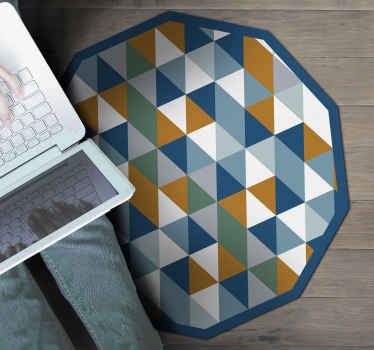 Decorate your house with an amazing geometric shape vinyl rug to any room in your house. High quality product delivered to the front of your house.