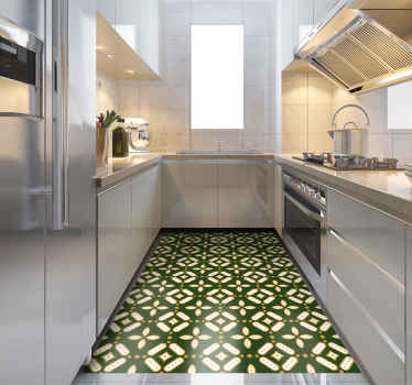 Beautifulkitchen  vinyl rug green squares with pattern carpet is a perfect solution for the kitchen or living room because it is so practical.