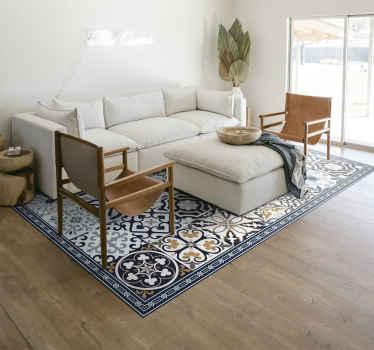 Geschikt decoratief vinyl vloerbedekking voor keuken en ander vloeroppervlak. Het tapijt bevat verschillende stijlen met decoratieve patronen in tegelvormen.
