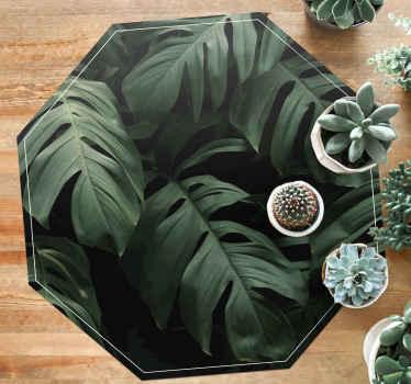 Realistisk monstera efterlader vinyltæppe for at placere følelsen af fredelig og beroligende naturfølelse på dit rum. Let at vedligeholde.