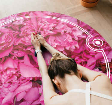 Round-tip vinyl carpet in pink colour. The carpet has the design of  Peonies floral with an amazing appearance. The size is customizable to your need.