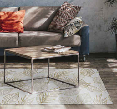 Leaf vinyl rug which features a lovely pattern of golden leaves, all in different shapes and sizes. High quality material.