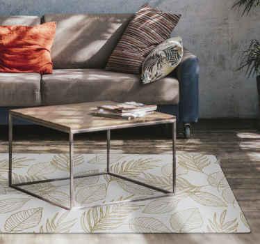 Blad vinyl tæppe, der har et dejligt mønster af gyldne blade, alt i forskellige former og størrelser. Materiale af høj kvalitet.