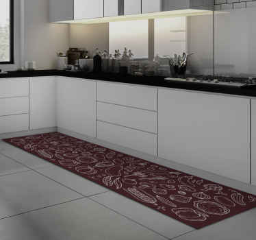 Kitchen vinyl rug which features various different types of food such as corn and peppers drawn onto a red background. Anti-bubble vinyl.
