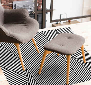 Black and white striped vinyl rug for living room. Stripe pattern of tiny black and white lines going in different directions! Get it now!
