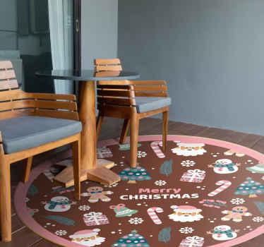 Dekoratyvinis linksmas kalėdinis vinilinis kilimas su įvairiais kalėdiniais elementais. Jis yra patvarus, originalus ir labai ilgalaikis.