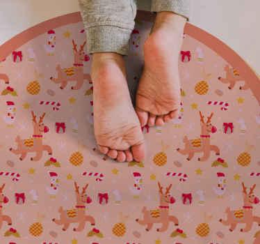 Vinyl teppich mit weihnachtsfiguren, perfekt für die dekoration ihrer eingangshalle am heiligabend. Es besteht aus hochwertigem vinyl.