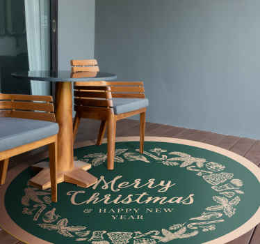 "christmas vinyl rug featured with some christmas elements with a central text that says ""merry christmas"" on a green background."