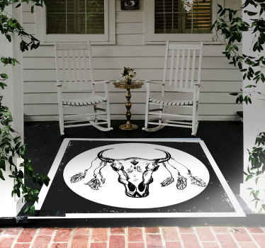 amazing squared vinyl carpet designed with a skull cow boho on a black and white background. The original vinyl rug is available in various sizes.