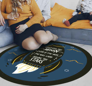 Circular vinyl carpet with space planet quote. Super lovely carpet for any floor space in a house. Contains space element drawings and quote.
