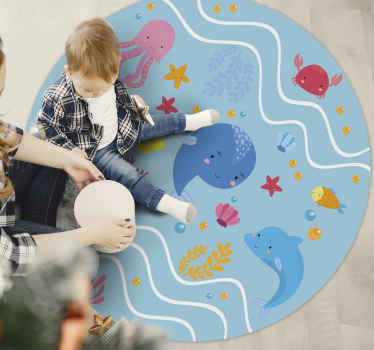 Happy and fun animal vinyl carpet that would be appealing and admired by kids. It design depicts the sea with jelly fish, dolphins, star fish, etc.
