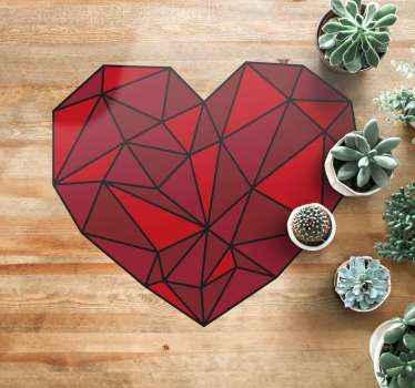 家庭やオフィスに適したモダンな幾何学模様のビニールカーペット。カーペットはハート型で赤い色になっています。メンテナンスが簡単です。