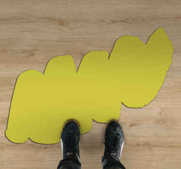 This amazing living room vinyl flooring is featured with prints of an ornamental yellow scribble. The size can be customized.