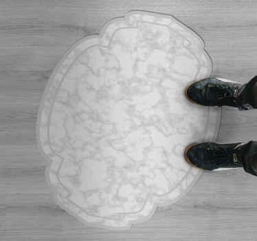 Schauen Sie sich die Schönheit dieses vinyl-teppichs der superlative in grauer farbe an! Es ist rutschfest und leicht mit einem feuchten Tuch zu reinigen.