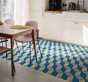 Onze producten zijn gemaakt met de beste kwaliteit materialen en zijn zeer duurzaam. U kunt dit kubussen patroon vinyl vloerkleed met kubisch patroon in een keuken plaatsen.