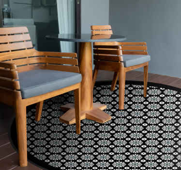 Ornamental patterned black and white vinyl carpet. You can place it on the floor of your study room, bedroom and common space.