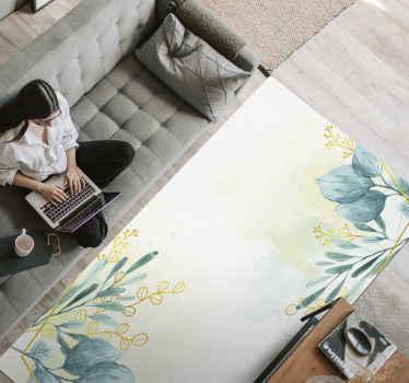 Decora tu casa con esta alfombra vinílica salón con flores elegantes. Diseño con fondo blanco y flores para decorar como te gusta ¡Envío a domicilio!