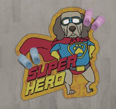 带有眼镜图案的梦幻般的乙烯基地毯超级狗,可以便宜地安装在客厅的贴纸中。
