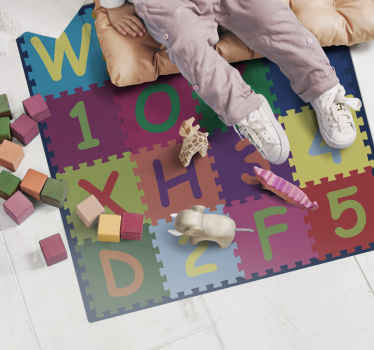 Fantastic Vinyl rug super alphabeth and numbers patterns, which can be mounted inexpensively in stickers for your living room.