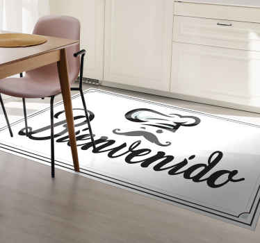 """Alfombra vinilo entrada, cocina o restaurante con gorro de chef y la frase """"bienvenido"""". Diseño blanco y negro ¡Descuentos disponibles!"""