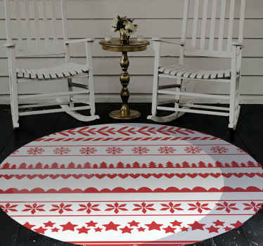 Christmas vinyl rug which features a Christmas themed red and white pattern with stars, snowflakes and hearts. High quality.
