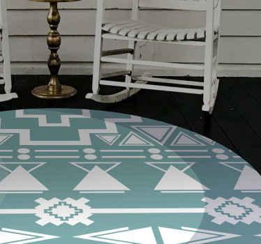 Blauer ethnischer Vinyl Teppich, ideal, wenn Sie Ihr schlafzimmer dekorieren möchten. Leicht zu reinigen und zu lagern. Hochwertiges material. Hör zu!