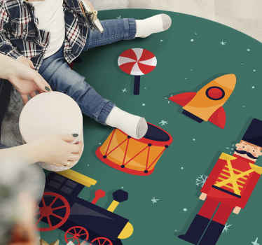 What a better way to decorate your kid's room and make them happy on Christmas than with this Christmas toys vinyl rug on a green background.