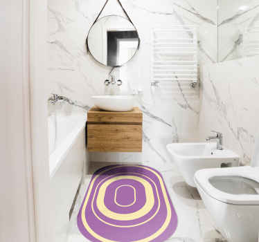 Lindo tapete oval roxo para banheiro. Um tapete para embelezar seu espaço de banho com um toque de luxo e efeito exclusivo.