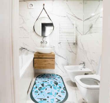 最高品質の排他的な青い楕円形の最小限のビニールの敷物。このオリジナルのビニールカーペットで、バスルームの床を贅沢な雰囲気で飾ることができます。
