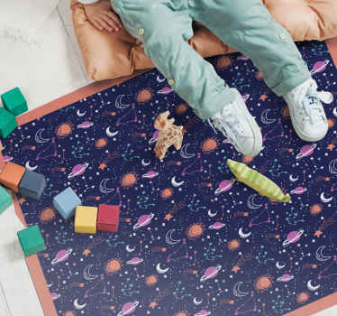 Purchase our top quality vinyl carpet for kids with amazing design illustrating space elements and planets. Customizable to any needed dimension.
