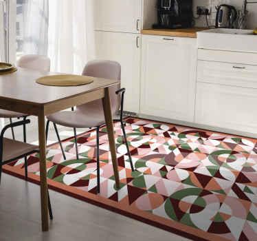 幾何学的なカラフルなプリント幾何学的なビニールの敷物。廊下、キッチン、その他お好みの床面積に適しています。オリジナルで耐久性があり、お手入れも簡単です。