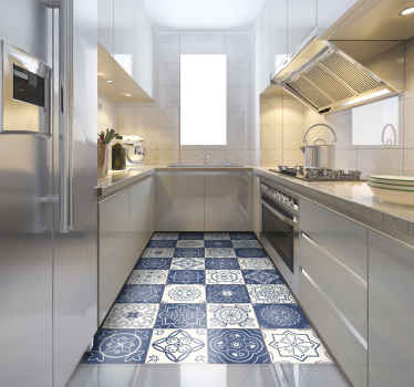 A good quality product and very easy to clean to decorate your kitchen. A blue tile vinyl rug with different designs on each tile.