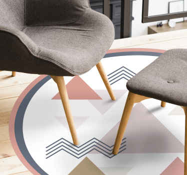 Suitable vinyl carpet for living room. Filled with sweet colorful geometric patterns that would compliment with elements in your home.