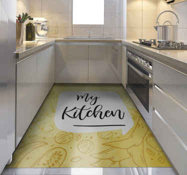 Yellow vinyl rug for kitchen. It is made of high quality vinyl and easy to clean or store if neccessary. Check it out yourself!