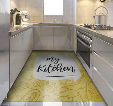 """Alfombra vinilo cocina amarilla con patrón original y la frase """"my kitchen"""" para que la decores a tu gusto. Alta calidad ¡Envío express!"""