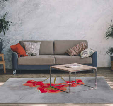 Alfombra vinílica de flores con amapola ideal para tu salón. Fabricado en material de alta calidad ¡Descuentos disponibles!