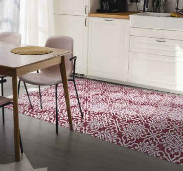 Sie können diese rote farbe marokkanischen Muster vinyl carper auf jeder bodenfläche in Ihrem haus platzieren. Es ist geeignet für flure, küche, essen usw.