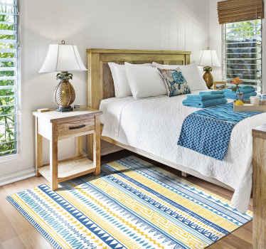 Alfombra vinílica rayas con motivos étnicos para que decores tu casa a tu gusto. Diseño ideal para dormitorio y salón ¡Descuentos disponibles!