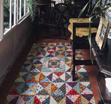 Colorful turkish patchwork ethnic vinyl carpet displaying ornamental flowers in tile patterns. It is original and easy to maintain.