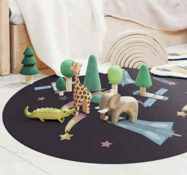 Plads raketter planeter børn vinyl tæppe. Hvis du leder efter et perfekt tæppe til børn med pladselementer, er dette tæppe et perfekt valg