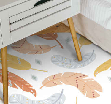 Alfombra vinílica habitación de plumas en tonos pastel perfecta para decorar tu casa como a ti te gusta. Elige medidas ¡Compra online!