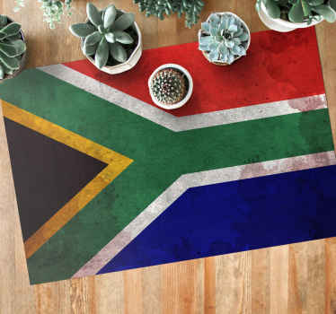 South Africa flag vintage rug design. Lovely entrance and living room vinyl carpet to welcome guest to your space with the vibes of south Africa.