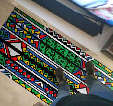 Colorful African tribal design vinyl rug for home. Nice for a living room and can be placed on other spaces in a house. It is easy to maintain.