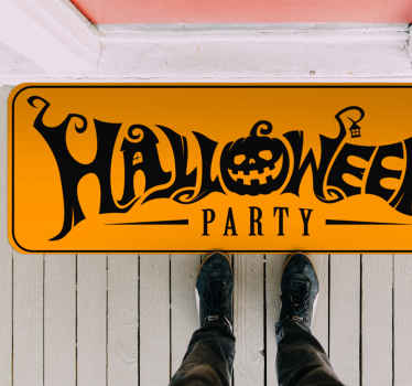 An amazing way to receive your visitors for the Halloween party with this Halloween party vinyl rug with a pumpkin and different figures.
