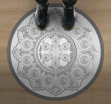 Sivi uzorak mandale vinil tepih mandala za vaš dom. Uljepšajte bilo koji prostor u domu ovim dizajnom. Originalan je, izdržljiv i jednostavan za održavanje.