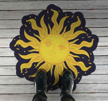 Hermoso diseño de alfombra vinilo étnica que representa al sol con una figura para decorar cualquier espacio de tu casa ¡Compra online!