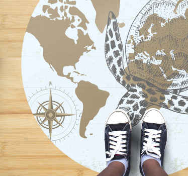 Amazing vinyl carpet design to set your home apart with uniqueness. The carpet host the design of world map, sea turtle and navigating compass.