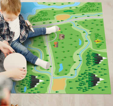 Cet incroyable tapis de carte routière est une décoration incroyable, mais vos enfants peuvent également jouer dessus avec leurs voitures de jeu.