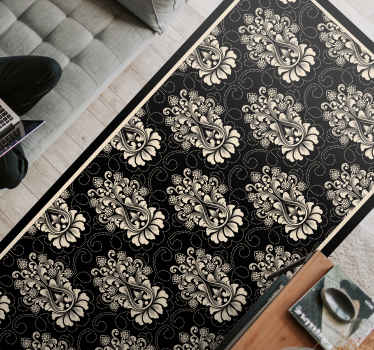 Original vinyl rug in black available in several colours that can give a touch of elegance to your living room. Available in 50 colours.